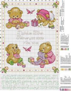 Find this Pin and more on Baby Stitchery. Birth sampler Baby Bears for baby girl Baby Cross Stitch Patterns, Cross Stitch For Kids, Cute Cross Stitch, Cross Stitch Cards, Cross Stitch Alphabet, Cross Stitch Samplers, Cross Stitch Animals, Counted Cross Stitch Kits, Cross Stitch Designs