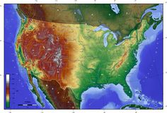 USA high contrast elevation map
