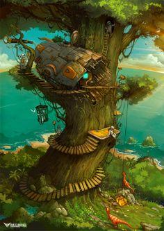 The Art Of Animation, Zhichao Cai Environment Concept Art, Environment Design, Fantasy Places, Fantasy World, Fantasy Landscape, Landscape Art, Modelos 3d, Wow Art, Art Graphique