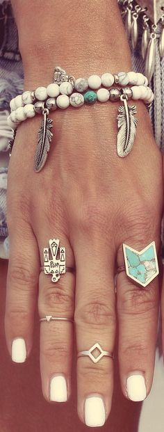 Boho jewelry :: Rings, bracelet, necklace, earrings + flash tattoos :: For Gypsy wanderers + Free Spirits :: See more untamed bohemian jewel inspiration @untamedmama