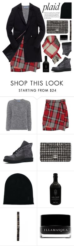 """""""Plaid"""" by deepwinter ❤ liked on Polyvore featuring Prada, Vivienne Westwood Red Label, Superdry, Chanel, Pringle of Scotland, Orciani, Illamasqua, Woolrich and plaid"""