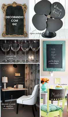 Quem gosta de decoração já deve ter percebido essa tendência de decorar alguma parede da casa ou algum objeto com tinta de lousa.