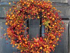Fall Wreath  Oak Leaf & Pip Berry Wreath   by Designawreath, $56.95