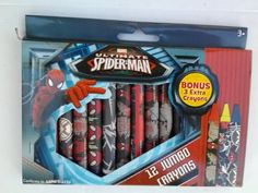 Ultimate SpiderMan 12 Jumbo Crayons by Marvel Comic
