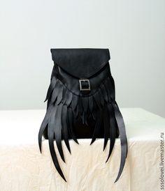 Рюкзаки ручной работы. Ярмарка Мастеров - ручная работа Рюкзак Wings / кожаный черный рюкзачок. Handmade.