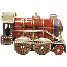 Boxed 1984 Hallmark Tin Locomotive Ornament in Original Box (€23) ❤ liked on Polyvore featuring home, home decor and holiday decorations