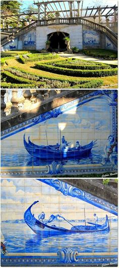 Amazing azulejo (hand painted tiles ) in the park Infante Dom Pedro - Aveiro #Portugal
