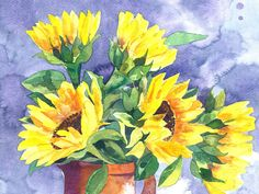 Sunflowers  contemporary fine art floral by FrancescaWhetnall, £48.00