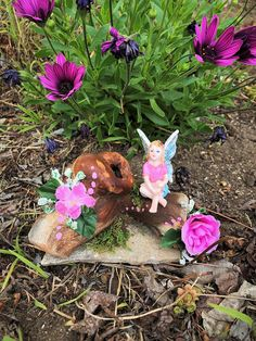 Pink Fairy Fairy Log Fairy Display Fairy Garden Girl Pink