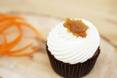 organic carrot cupcake topped with housemade pineapple preserves #organic #cupcake #carrot www.sweetcharllote.com