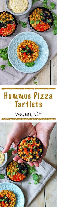 Last weekend, rainy weather scared me from shopping groceries so I had to make do with what I had at home. These beautiful Hummus Pizza #Tartlets are the result of my improvisation: #vegan and #glutenfree, and super-easy to make with only a few ingredients: Pizza crust, hummus, and vegetables. Quick bake, maximum taste!