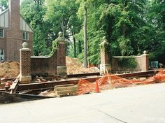 Two brick pillars built in 1856 were moved onsite in Haverford, PA to allow for a more appropriate placement on the property (photo 1 of Moving Dolly, Entry Wall, Entrance Ideas, Gates, Remote, Brick, Environment, Cabin, House Styles