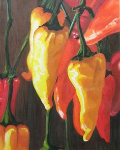 chile peppers. Use acrylic & underpainting technique.