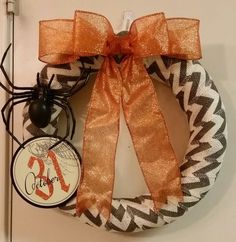 Halloween Wreath, Oct 30th Wreath, Spider, Halloween Door Decor by SouthTXCreations on Etsy