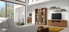 Ambiente 3967 – Conjunto de muebles para salón con un mueble completo para la televisión y el reproductor de DVD y con un mueble estantería con vitrina incorporada.