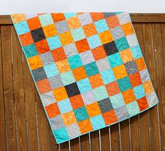 Orange Aqua & Gray Boy Quilt Modern Blue by JennyMsQuilts on Etsy, $150.00