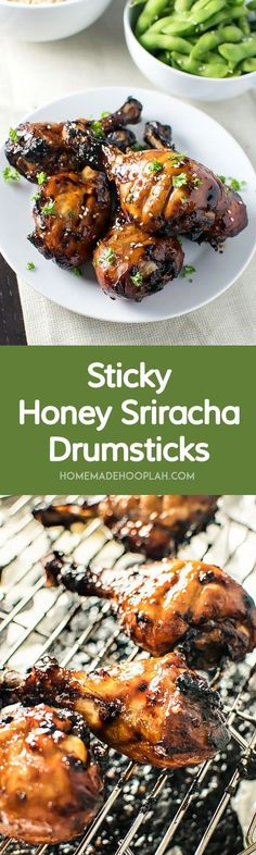 Sticky Honey Sriracha Drumsticks! Chicken drumsticks baked with a honey sriracha glaze. The meat is so tender it falls off the bone and the glaze is the perfect balance of tangy, spicy, and sweet.   HomemadeHooplah.com