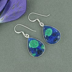 Genuine Azurite Malachite Gemstone Earrings Solid by Silvergem2014