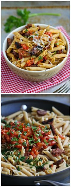 Roasted Tomato and Chicken Sausage Whole Wheat Pasta Recipe...266 calories and 7 Weight Watchers PP | cookincanuck.com #healthy