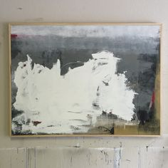 """Framed """"and it begins"""" 60x48"""" yesterday with a pine border - simply brings the strength of the white out, placing the background to form distance between the two. this piece was the first piece I painted after going full time as an artist in 2014, the white represents a new journey leaving the past to fade away. It is going to a home and a wall that I know will cherish and love it for a long time. #art #abstractart #contemporaryart #painting #modernart"""