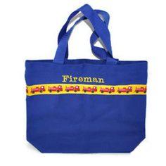 Fireman Tote Bag with Monogram Name Embroidered on it, Personalized Bag, Swin Bag, Toy Bag, Boy Tote Bag