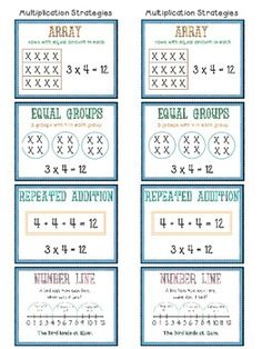 The product would make a great reference chart for basic Multiplication Strategies: arrays, repeated addition, equal groups and number line.The file contains a page of 2 reference charts (ideal for their books); Four A4 (slightly less) sized posters; Four A5 sized posters; Two matching headers.