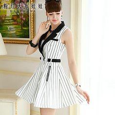 Pink Doll® Women's Tailor Collar Elegant OL Sleeveless Slimming Dress - USD $ 36.58