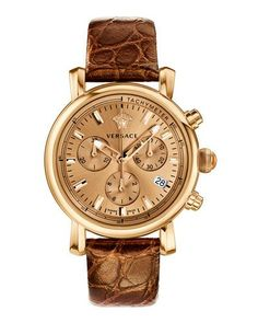 38mm Day Glam Chronograph Watch w/ Leather Strap, Golden/Brown