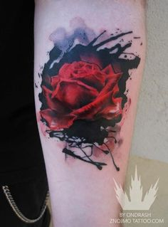 watercolor flower tattoo - different color rose and maybe some laceyness behind or around the solid black.