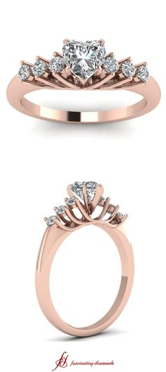 Circular Trellis Ring ||  Heart Shaped Diamond Side Stone Ring With White Diamond In 14K Rose Gold