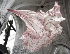 transit-art-lounge:  Ethereal Paper Sculptures by Peter Genkenaar are hunghere inside the abbey church of St. Riquier,   Happy Holidays everyone! I just went through on my phone and followed everyone who has reblogged this post as of today. Thanks you and sorry if I missed you- let me know.