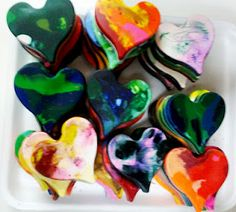 crayon hearts - melt bits of crayon in a silicon baking mold!  Could make any shape, awesome!