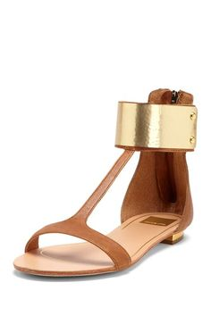 Dolce Vita Bagley Flat Sandal with gold and brown leather