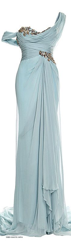 ~Marchesa One Shouldered Chiffon Gown with Embroidered Bodice and Drape Detail ♔ Resort 2015 | The House of Beccaria