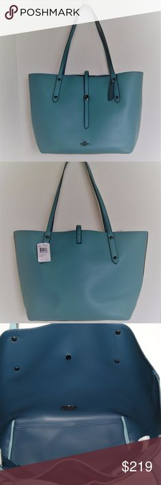 """Coach 58849 Market Tote Pebble Leather Cloud Miner COACH Cloud Mineral Blue Pebble Leather Large Market Tote Purse Bag Style #58849 Color: Cloud Mineral Retail: $295 Pebbled leather Gunmetal hardware Strap with turn lock for closure Coach plaque on front Leather handles 11"""" drop Leather Coach hangtag Dark Blue inside leather no lining. Floating fabric zipper pocket approxmeasurements 11"""" h x 19"""" l x 6""""w Dust Bag KORS Michael Kors Bags Totes"""