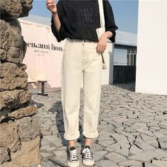 Capris Women Casual Solid Zipper Simple Loose Trousers Womens All-match Trendy Straight High Waist Pants Students Korean Style Outfit Jeans, Casual Hijab Outfit, Casual Outfits, Fashion Outfits, Womens Fashion, Cheap Fashion, Fashion Clothes, Beige Pants Outfit, Fashion Fashion