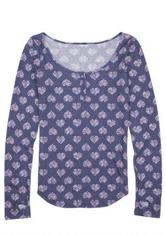 Rosie Brushed Henley Floral Hearts