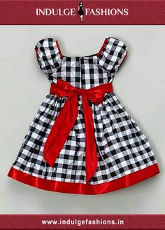 Satiny trim and a blossom accent complete this classic plaid look with shimmery polish. One quick zip ensures effortless dressing. Baby Girl Frocks, Frocks For Girls, Kids Frocks, Dresses Kids Girl, Little Girl Outfits, Kids Outfits, Girls Frock Design, Baby Dress Design, Baby Frocks Designs