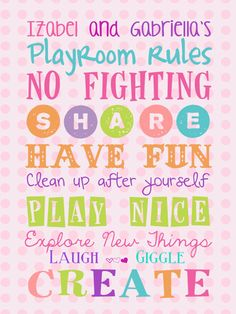 Girls Custom Playroom Rules16x12 Canvas Nursery by PurplePossom, $47.50