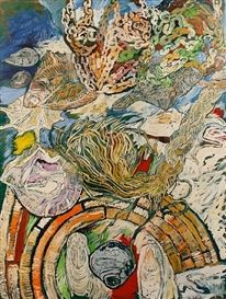 John Bratby- Still life with shells and fish