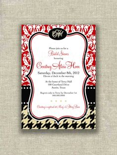 Christmas Bridal Shower Burberry colors Red Damask by girlsatplay, $12.00