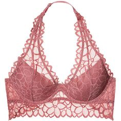 Floral Lace Halter Bralette PINK ($35) ❤ liked on Polyvore featuring intimates, bras, lingerie, undergarments, victoria secret lingerie, halter bra, lace halter top, lace bra and halter top