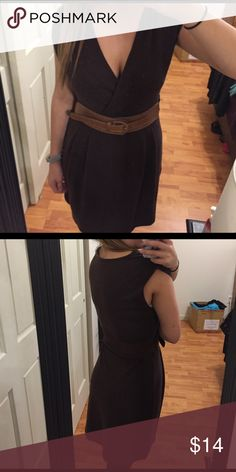 Brown sweater Dress Worn once for a family event, brand new basically! Can be worn with a tank underneath or pinned so that there is no cleavage. Really soft, comfy fabric. SO CUTE with brown boots or flats. Comes with belt, but is not attached to dress so it can be removed if you'd like. Charlotte Russe Dresses