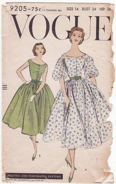 Vogue 9205, ca 1957; Sz 14/Bust 34 AND Sz 12/Bust 32