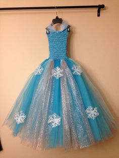 Queen Elsa inspired tutu dress and matching hairclip size nb to 9years