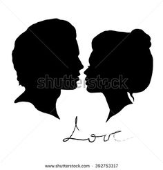Man and Woman silhouettes on a white background. Black faces profiles in vector…