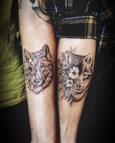 30 Perfect Matching His and Hers Tattoos Tattoos, Wolf