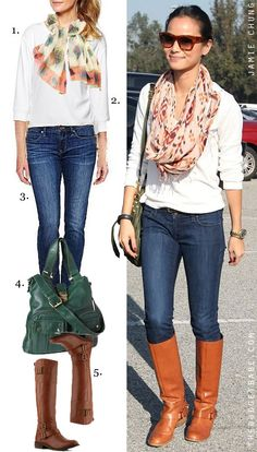 Skinnies, brown boots & scarf.. Celebrity Style - The Budget Babe