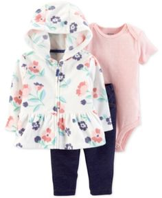 2e9298041f2b Carter s Baby Girls 3-Pc. Floral-Print Hoodie
