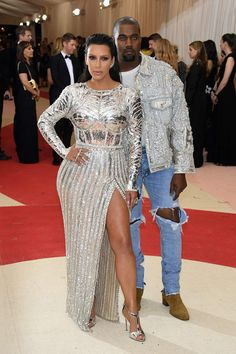 Kim Kardashian & husband Kanye West in Balmain at 2016 Met Gala